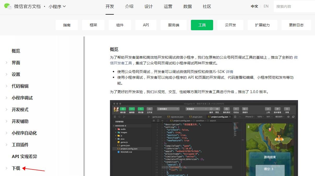 开发者工具下载页面